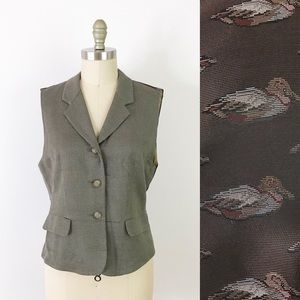 Vintage Duck Vest Notched Dressy Quirky Mallard